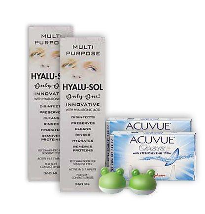 Komplekt Acuvue Oasys 6+6, Hyalu-Sol 360ml 2tk ja lõbus konteiner